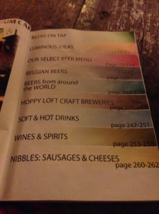The menu at Delirium...really more like a book!